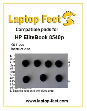 Laptop feet for HP Elitebook 8540w compatible kit (7 pcs self adhesive)