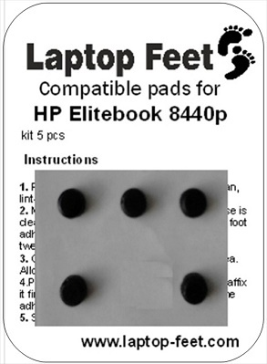 Laptop feet for HP Elitebook 8440p compatible kit (5 pcs self adhesive)