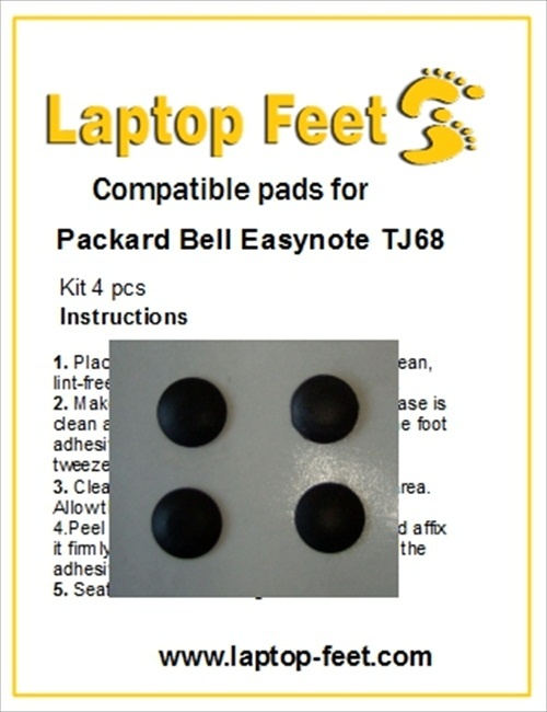 Laptop Feet for Packard Bell Easynote TJ68 kit compatible (4 pcs self adhesive)
