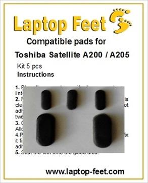 Laptop Feet for Toshiba Satellite A200 / A205 compatible kit (5 pcs self adhesive)