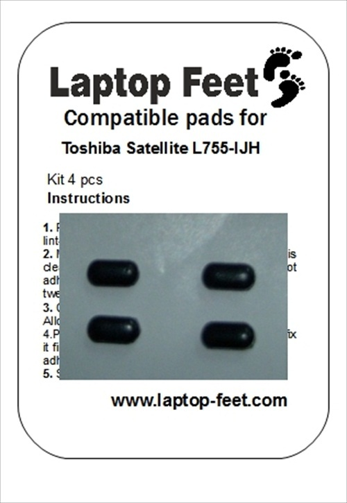 Laptop feet for Toshiba Satelite L755-IJH compatible kit (4 pcs self adhesive)