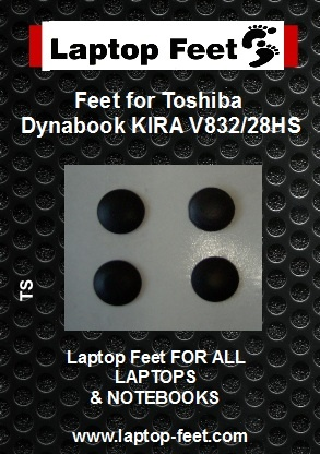 Laptop Rubber feet compatible for Toshiba Dynabook KIRA V832/28HS Black (4 pcs self adhesive)